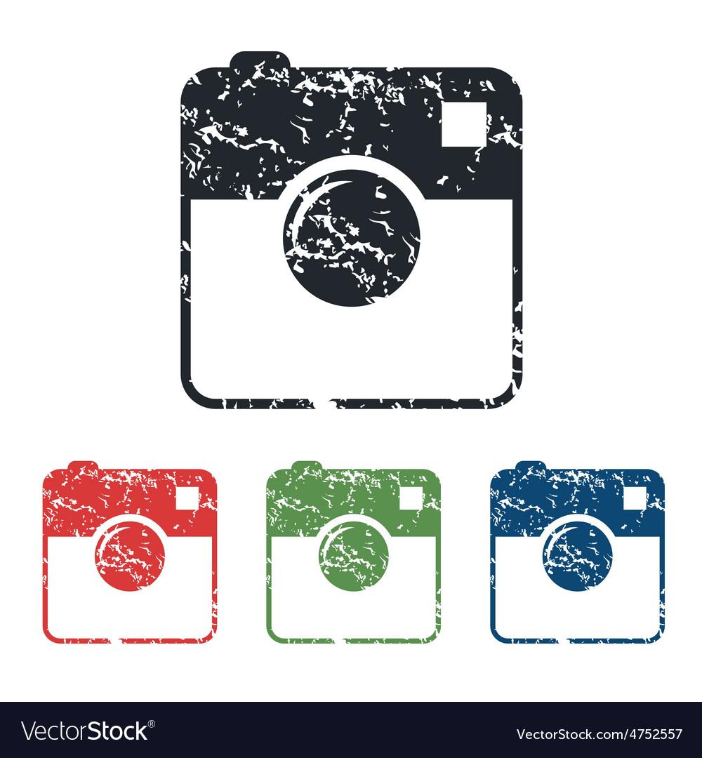 Square camera grunge icon set vector | Price: 1 Credit (USD $1)