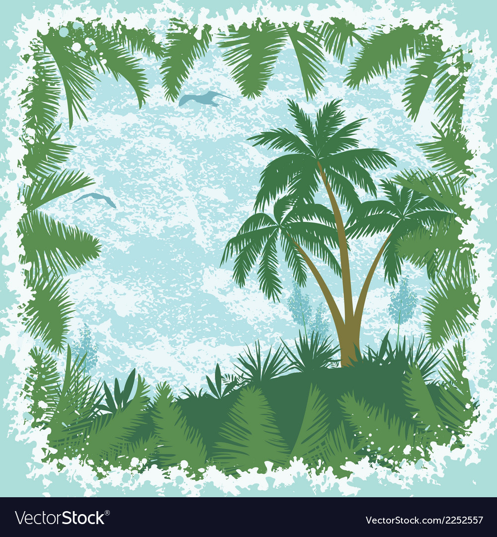 Tropical landscape palms trees and seagulls vector | Price: 1 Credit (USD $1)