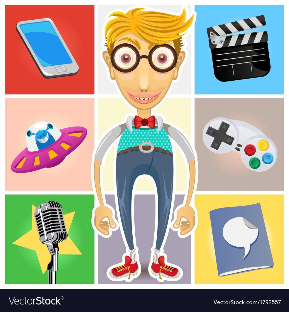 Type of nerd geek dork guy vector | Price: 3 Credit (USD $3)