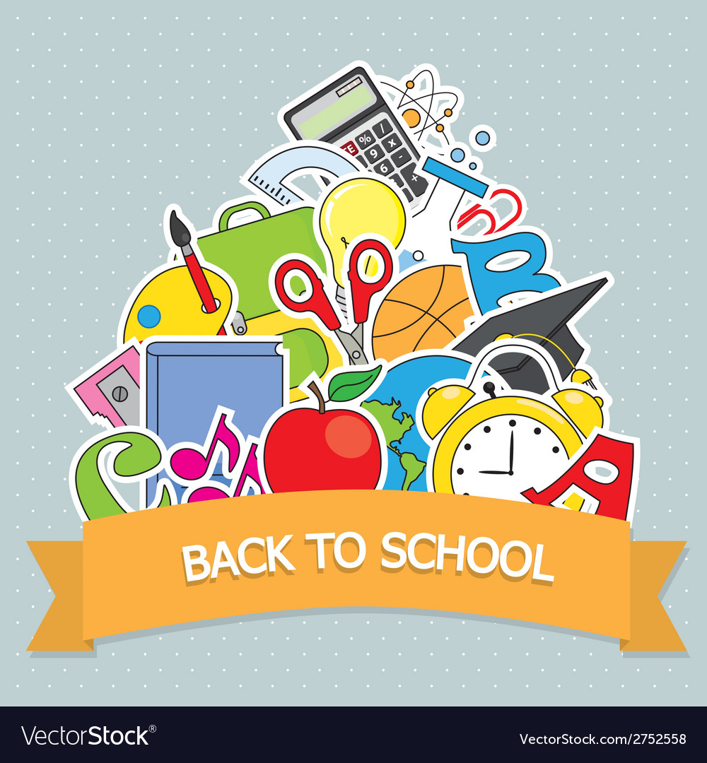 Back to school card vector | Price: 1 Credit (USD $1)