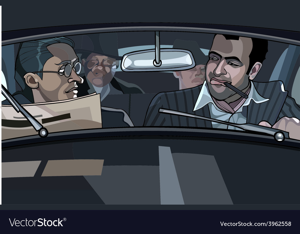 Cartoon male gangsters in the car vector | Price: 3 Credit (USD $3)