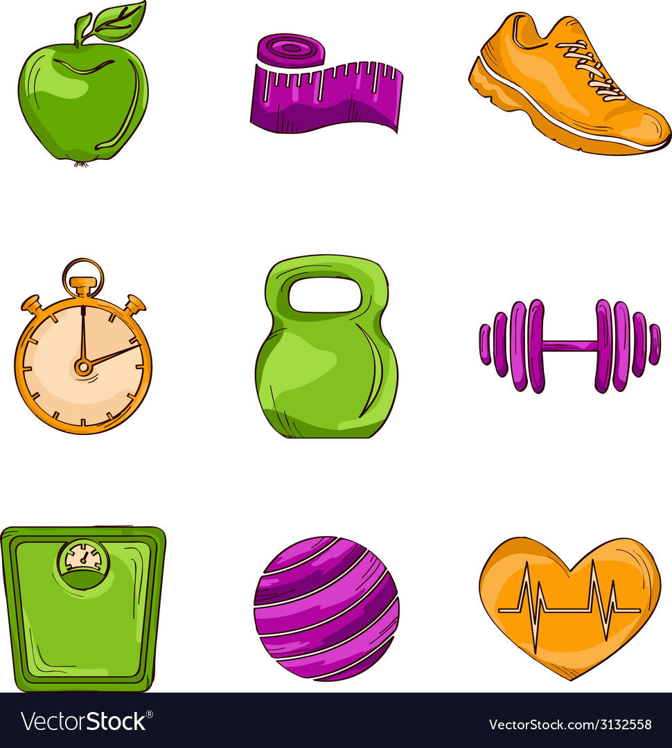 Fitness sketch line icons vector | Price: 1 Credit (USD $1)