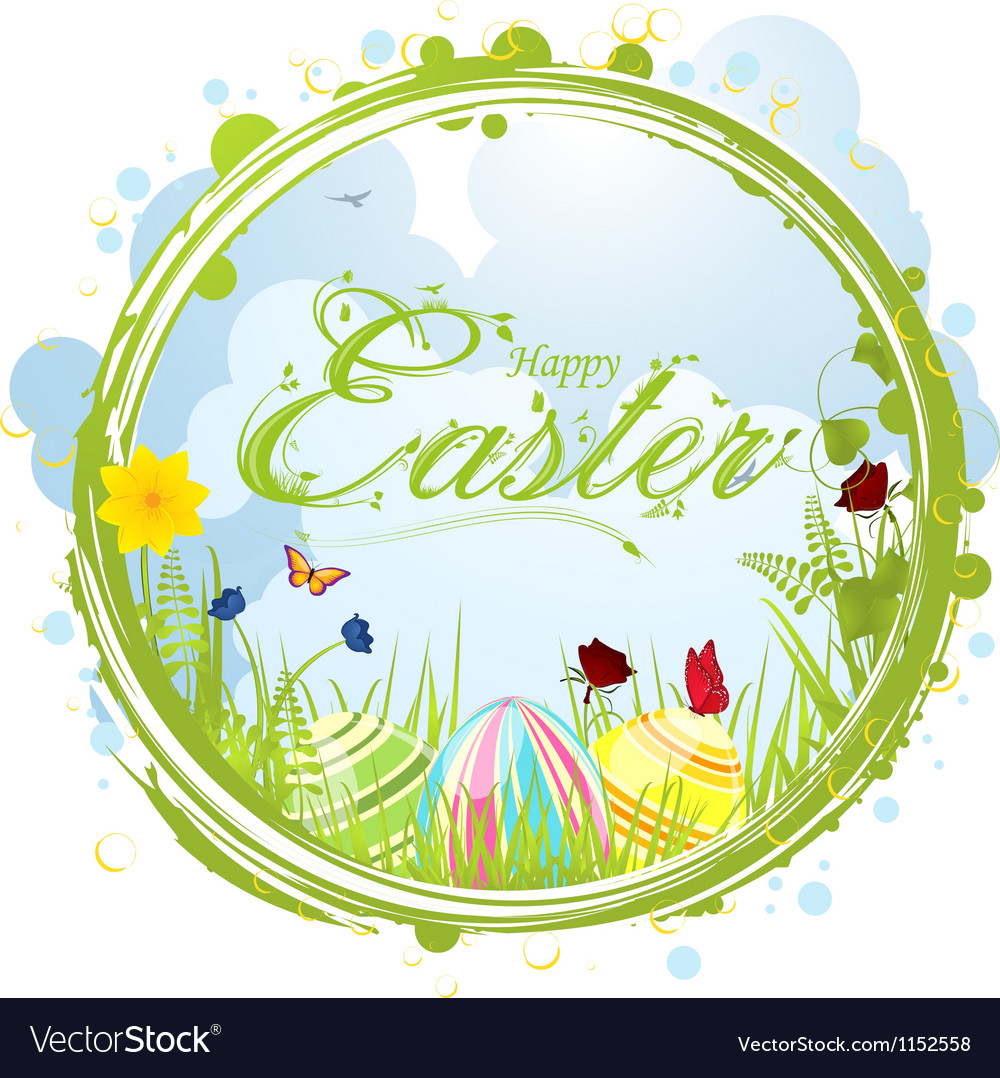 Happy easter border background vector | Price: 1 Credit (USD $1)
