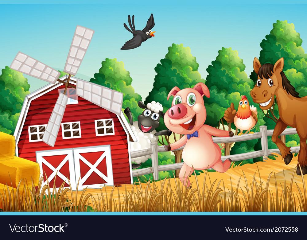 Happy farm animals vector | Price: 1 Credit (USD $1)