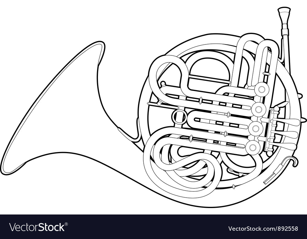 Outline french horn vector | Price: 1 Credit (USD $1)