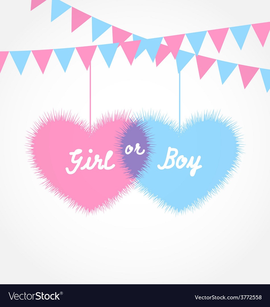 Pink and blue baby shower in form hearts with vector | Price: 1 Credit (USD $1)