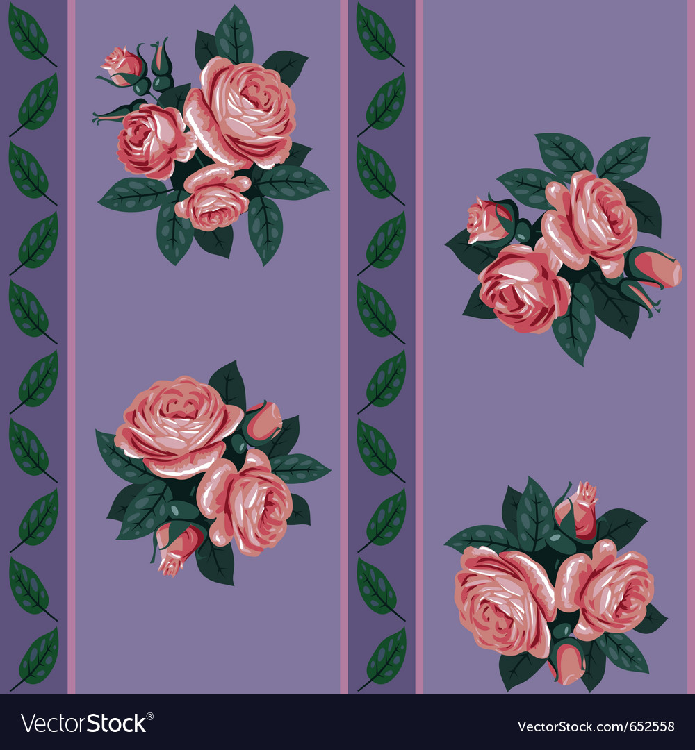 Red rose line seamless background vector | Price: 1 Credit (USD $1)