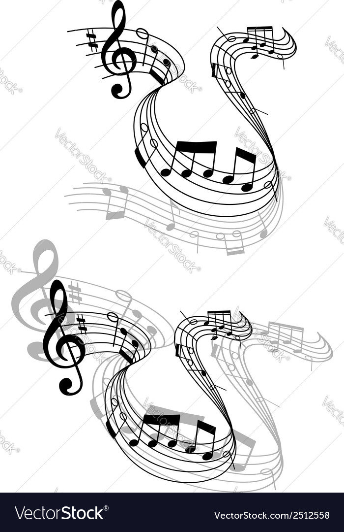 Swirling music score with musical notes vector | Price: 1 Credit (USD $1)