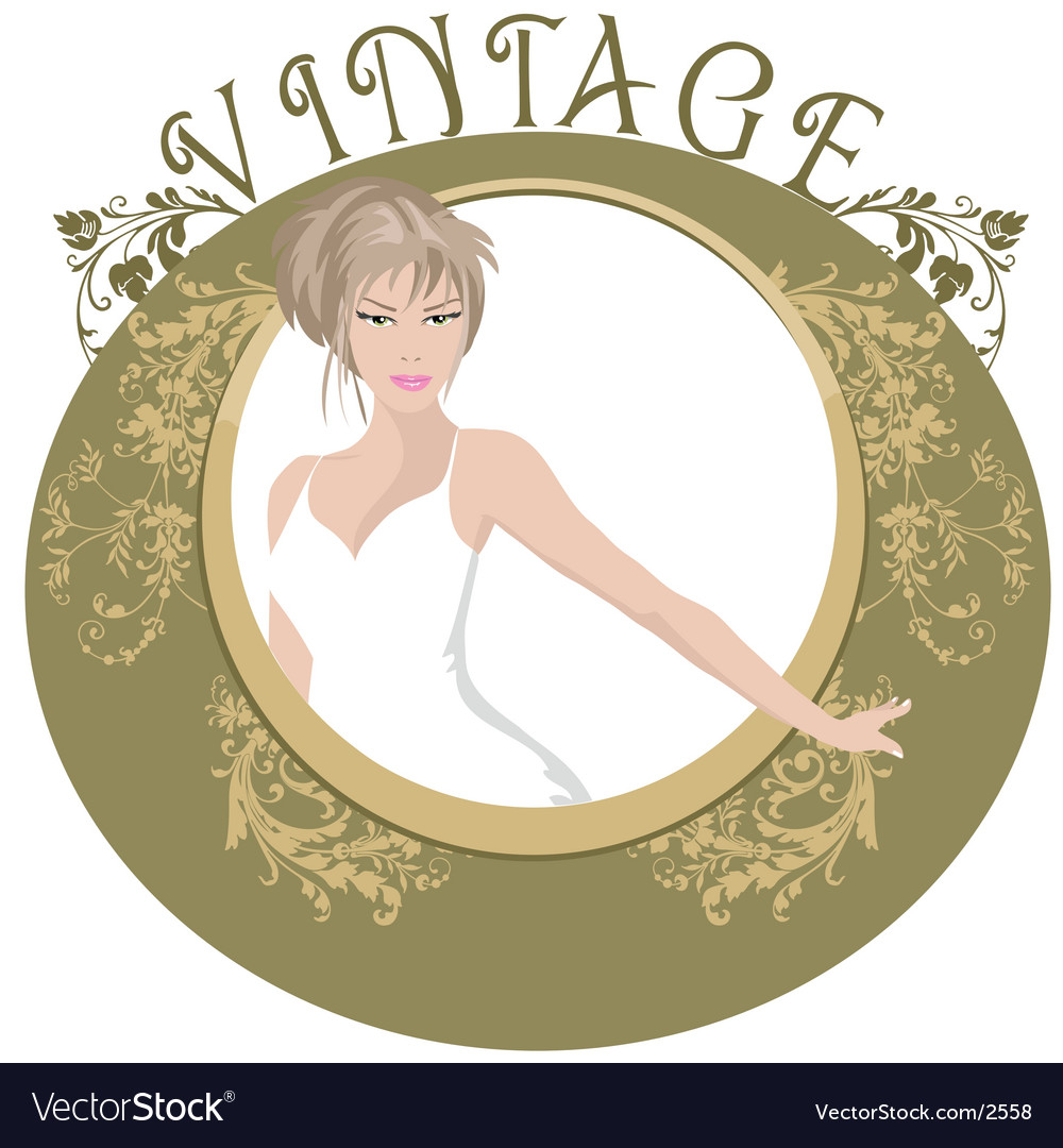 Vintage floral frame vector | Price: 3 Credit (USD $3)