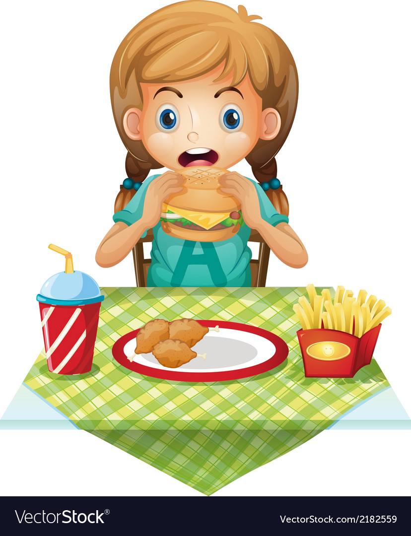 A cute girl eating vector | Price: 1 Credit (USD $1)