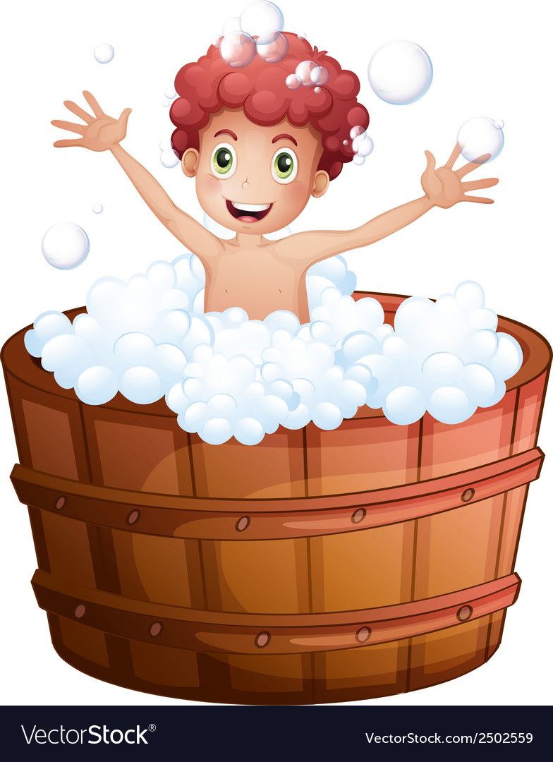 A young boy playing at the bathtub vector | Price: 1 Credit (USD $1)
