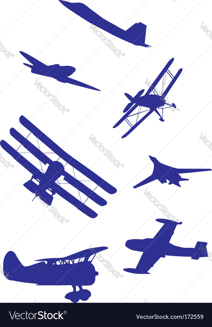 Airplanes silhouettes vector | Price: 1 Credit (USD $1)