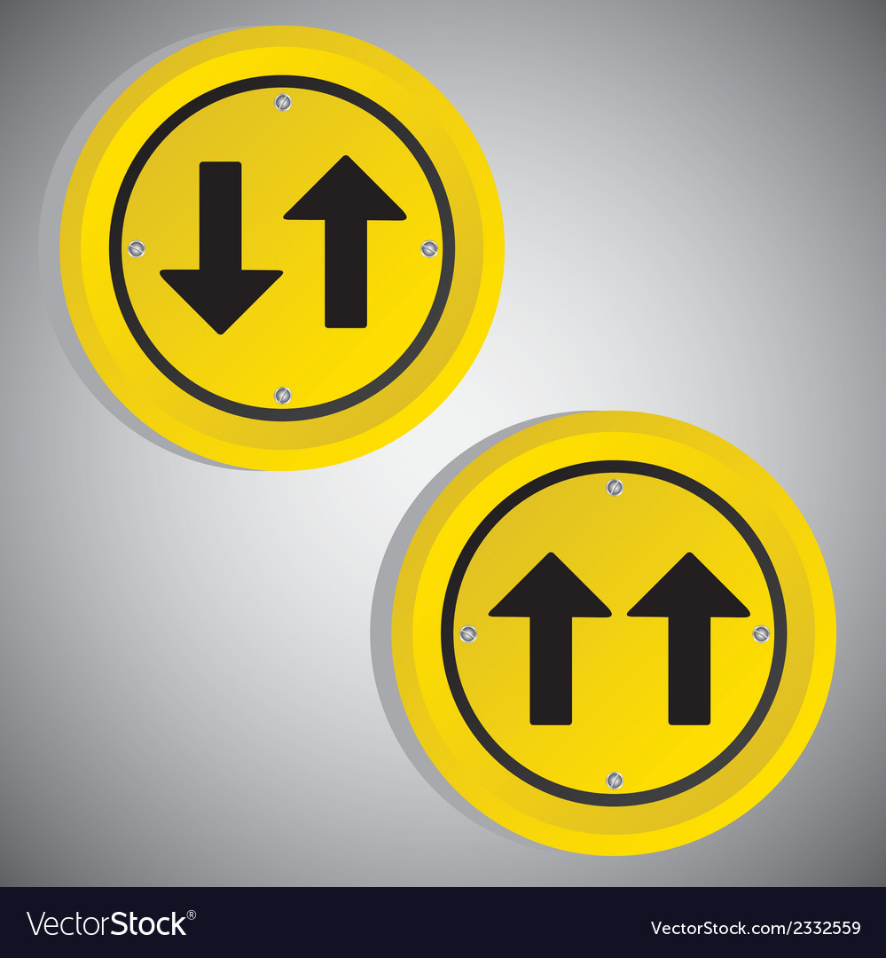 Arrows yellow circle signs over gray background vector | Price: 1 Credit (USD $1)