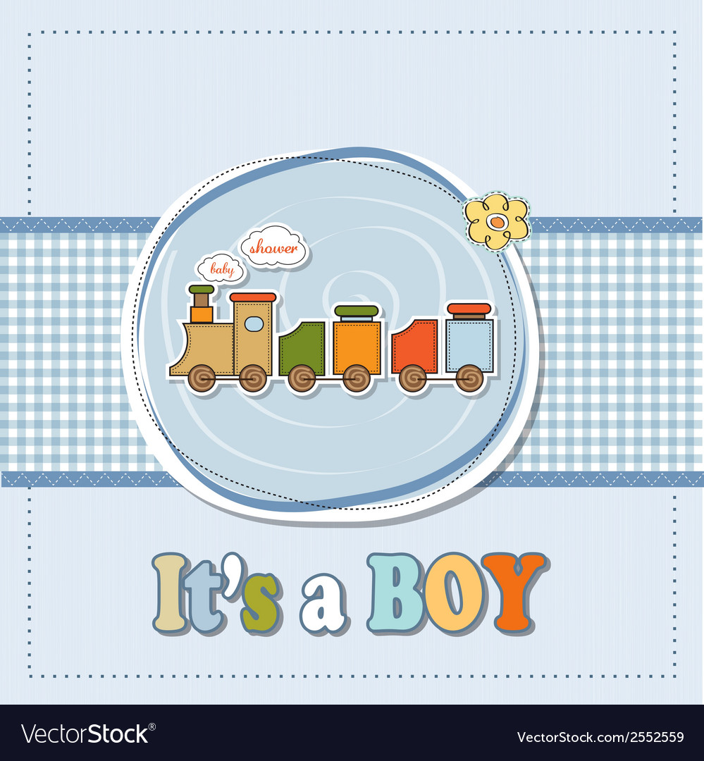 Baby boy shower card with toy train vector | Price: 1 Credit (USD $1)