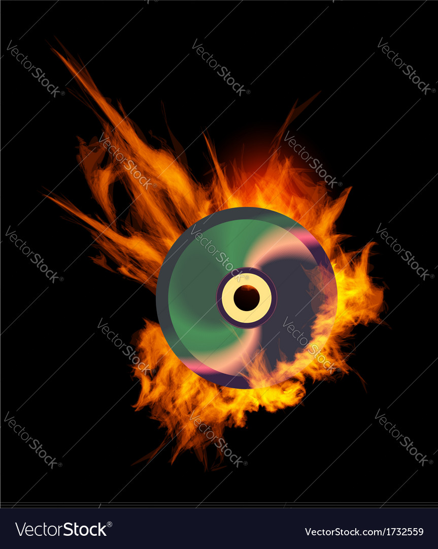 Burning cd vector | Price: 1 Credit (USD $1)