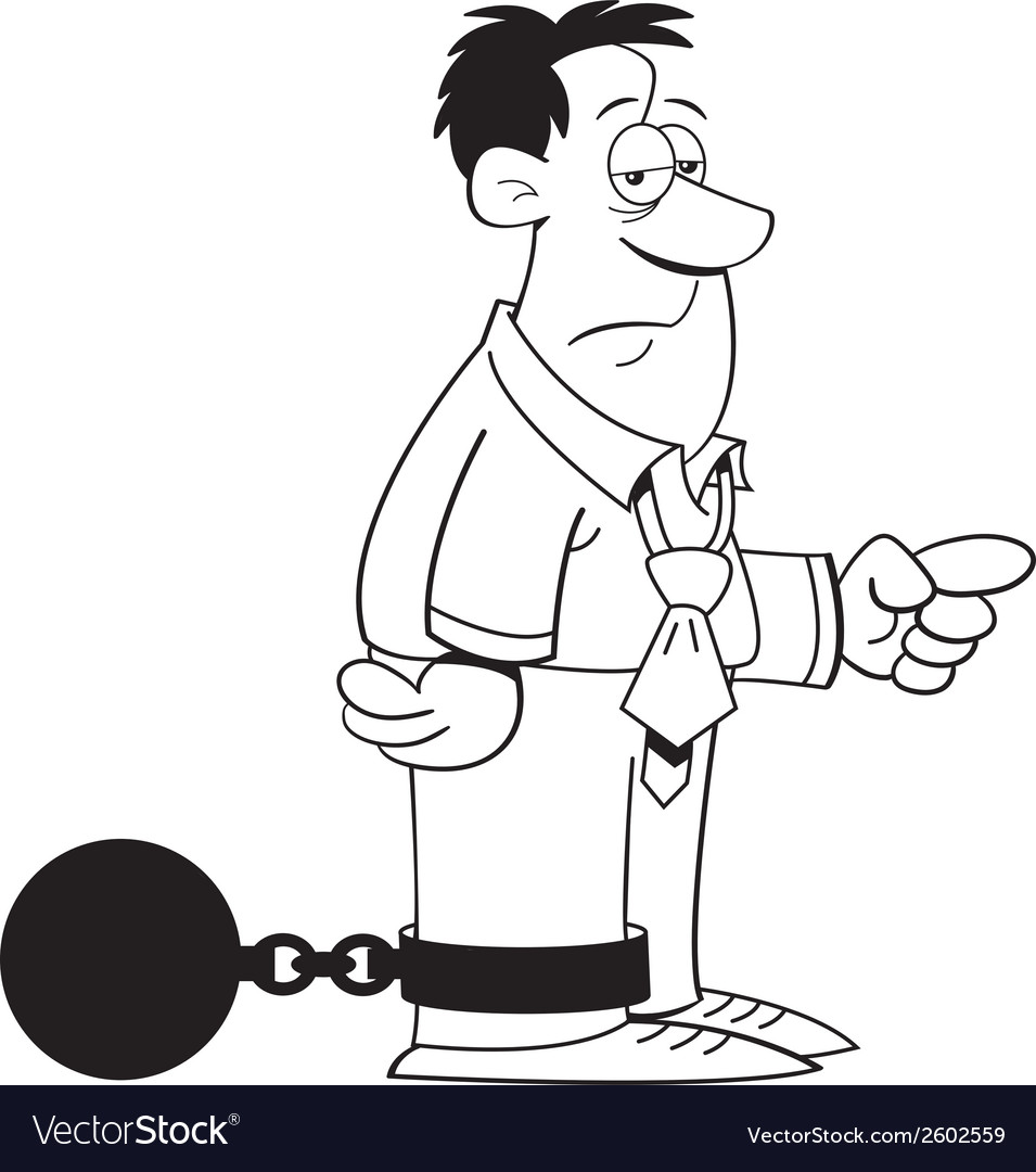 Cartoon ball and chain man vector | Price: 1 Credit (USD $1)