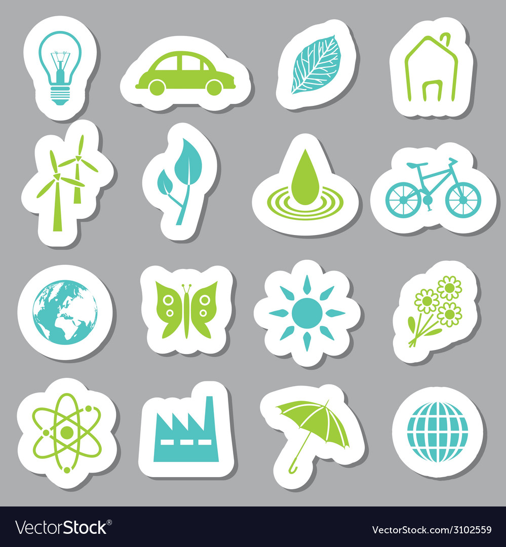 Environment stickers vector | Price: 1 Credit (USD $1)