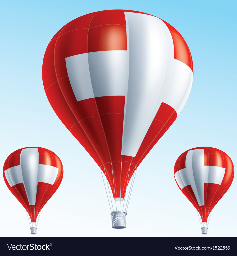 Hot balloons painted as swiss flag vector | Price: 3 Credit (USD $3)