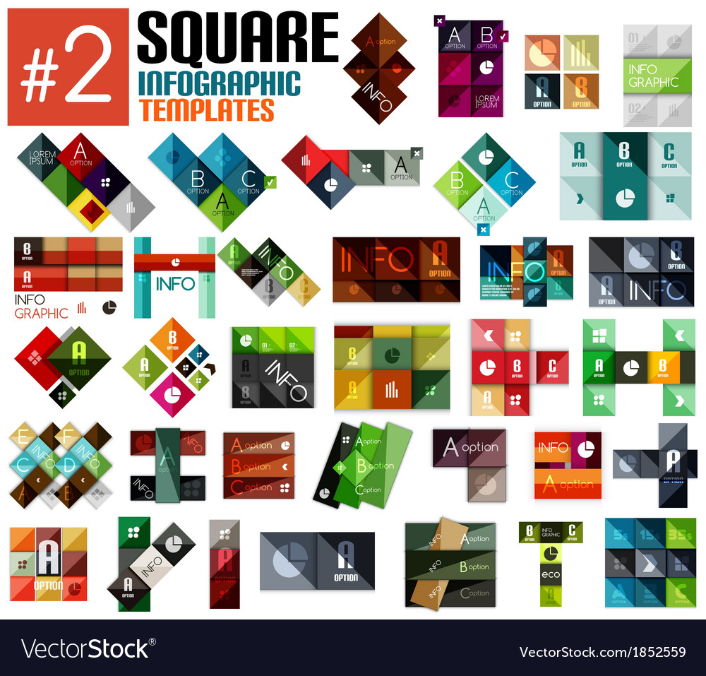 Huge set of square infographic templates 2 vector | Price: 1 Credit (USD $1)