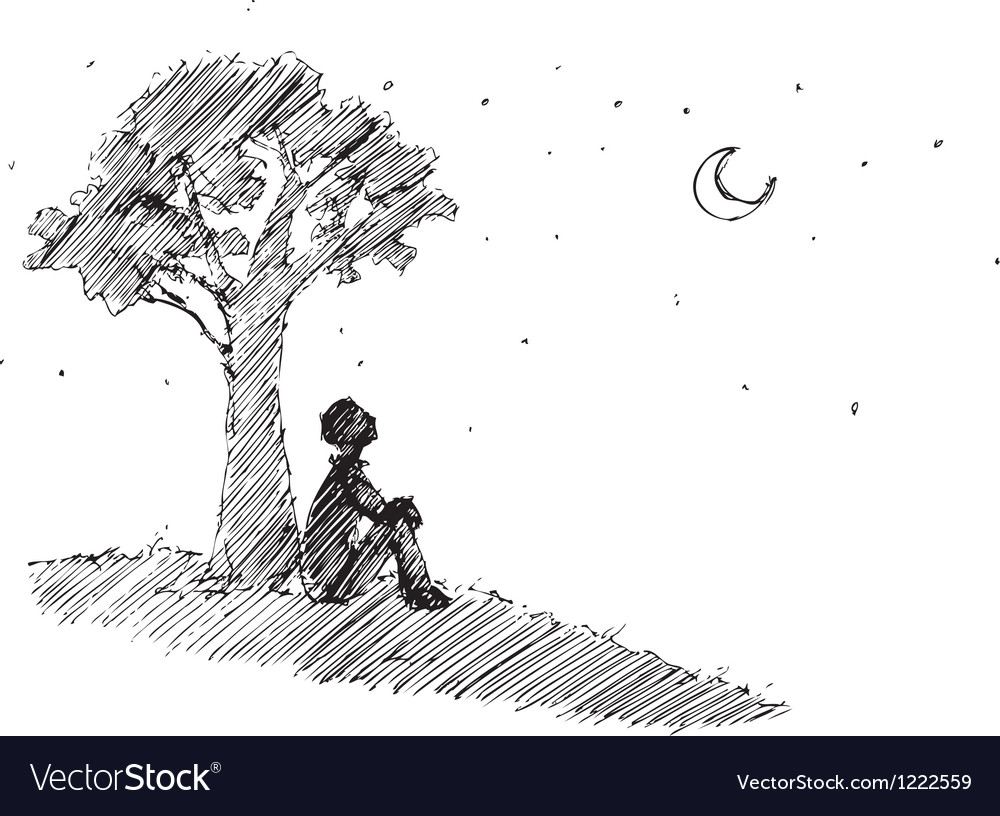 Man looking at the moon vector | Price: 1 Credit (USD $1)