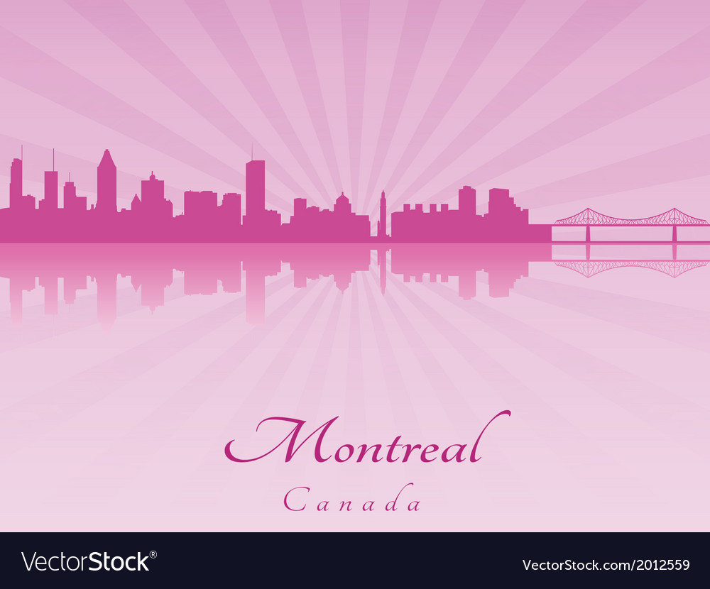 Montreal skyline in purple radiant orchid vector | Price: 1 Credit (USD $1)