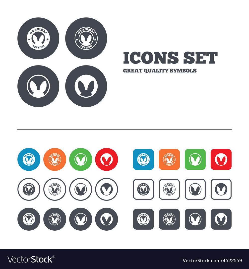 No animals testing icons non-human experiments vector | Price: 1 Credit (USD $1)