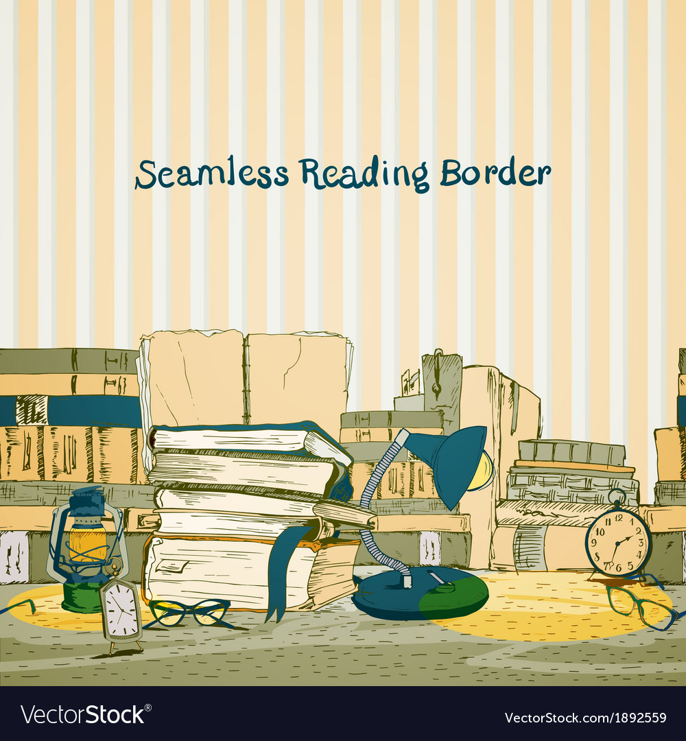 Seamless books reading border vector | Price: 1 Credit (USD $1)