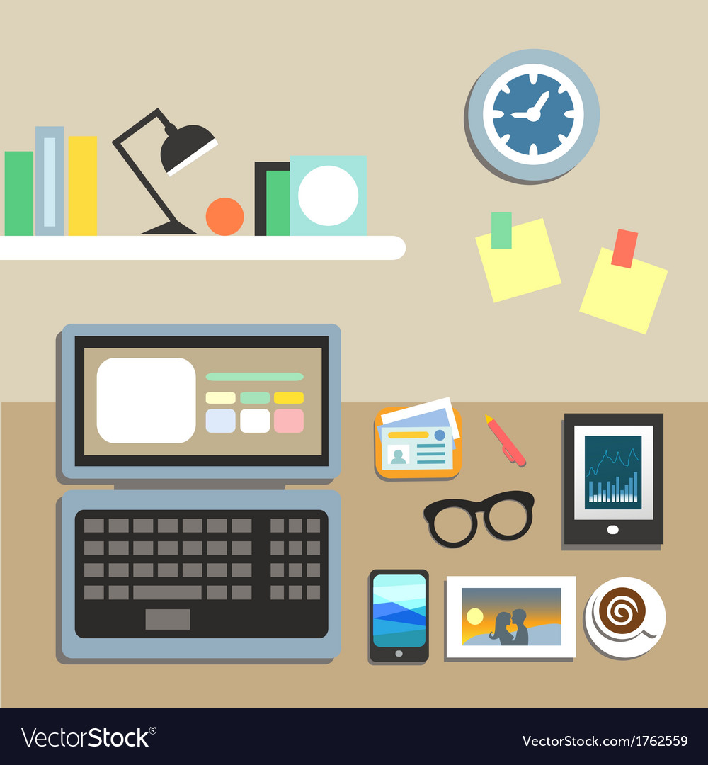 Set of office workplace items vector | Price: 1 Credit (USD $1)