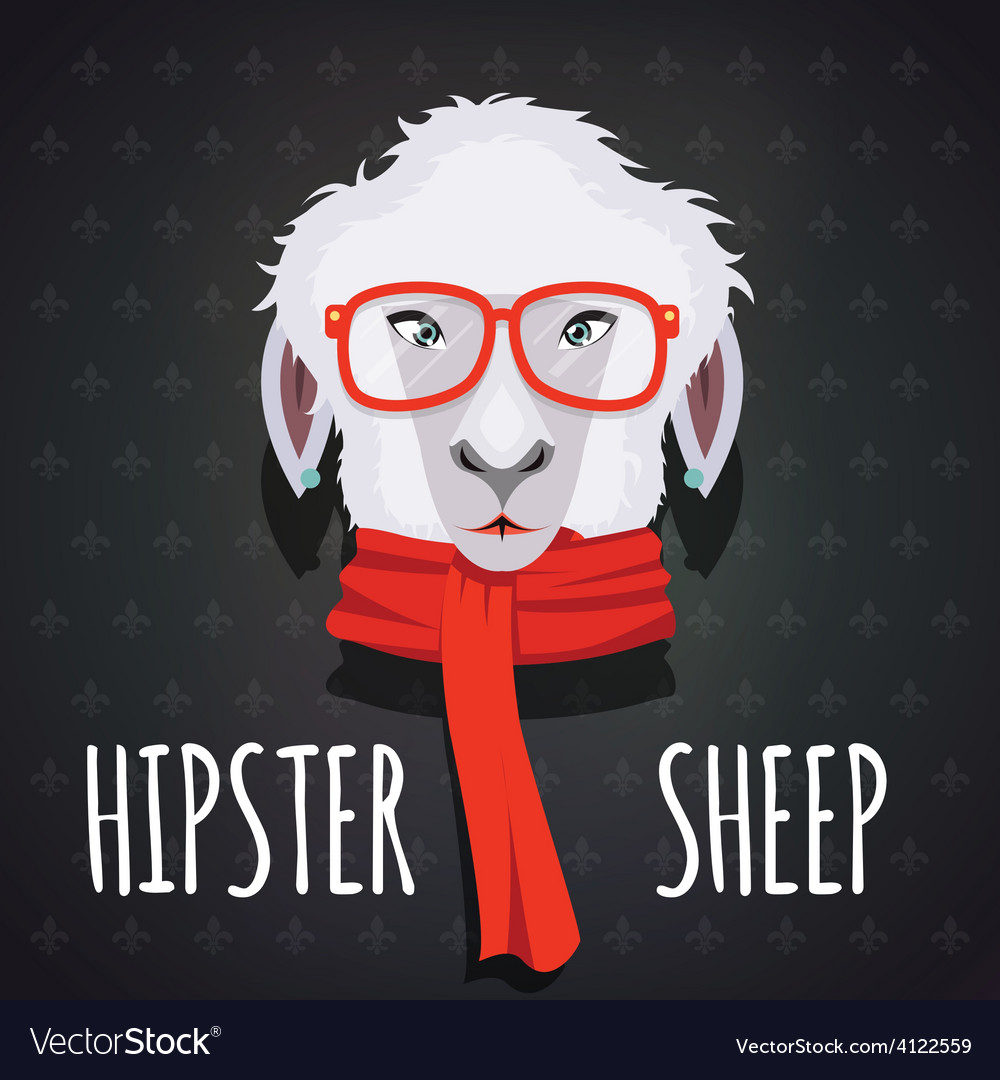 Sheep hipster dressed in red scarf vector | Price: 1 Credit (USD $1)