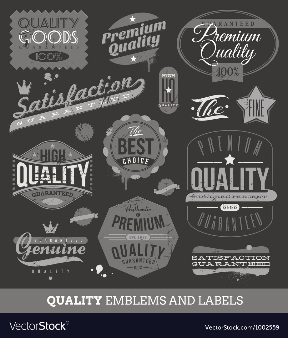 Signs emblems and labels of quality and guaranteed vector | Price: 1 Credit (USD $1)