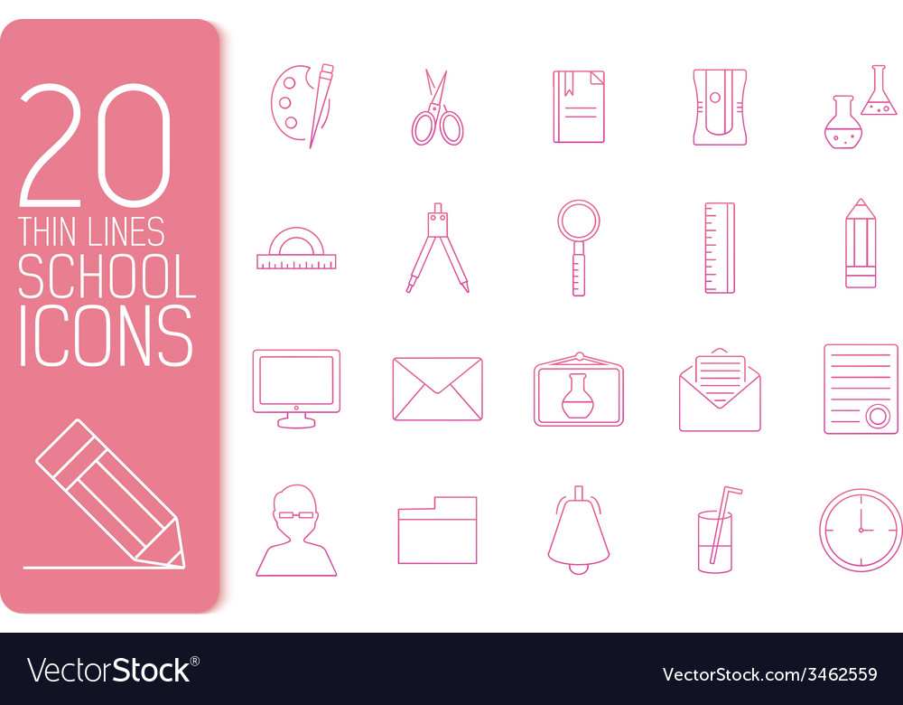 Thin line office set icons school concept d vector | Price: 1 Credit (USD $1)