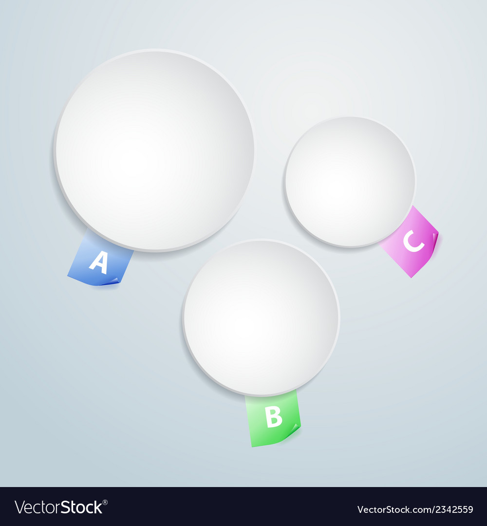 Three white paper round notes vector | Price: 1 Credit (USD $1)