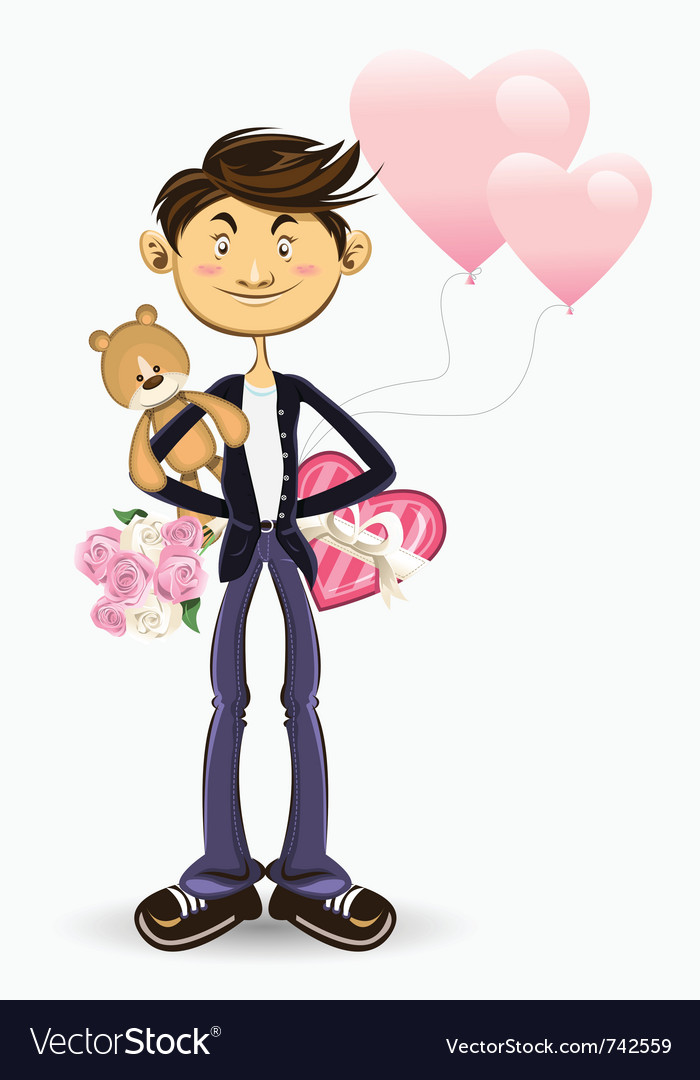 Valentine boy greeting card vector | Price: 3 Credit (USD $3)