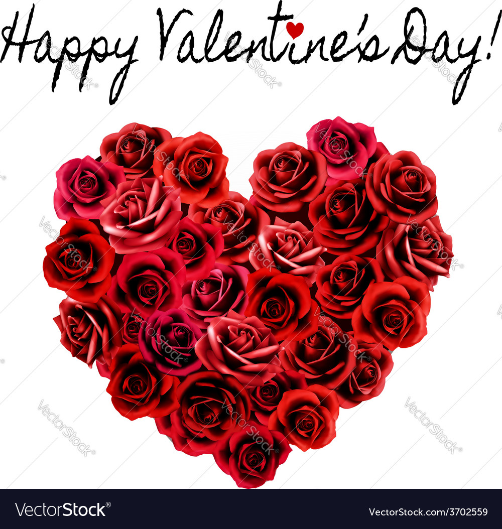 Valentines day background heart made of red roses vector
