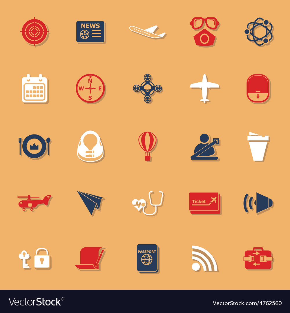 Air transport related classic color icons with vector | Price: 1 Credit (USD $1)