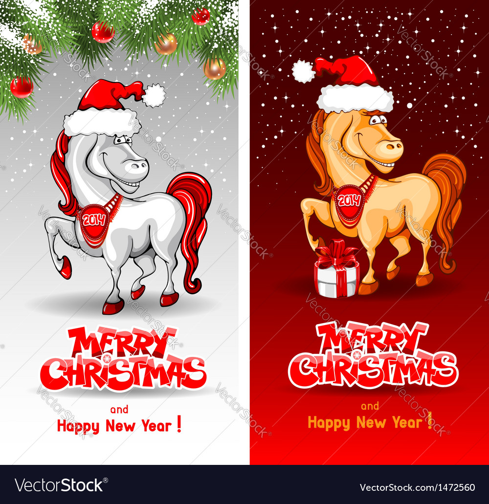 Christmas card with funny horse vector | Price: 3 Credit (USD $3)