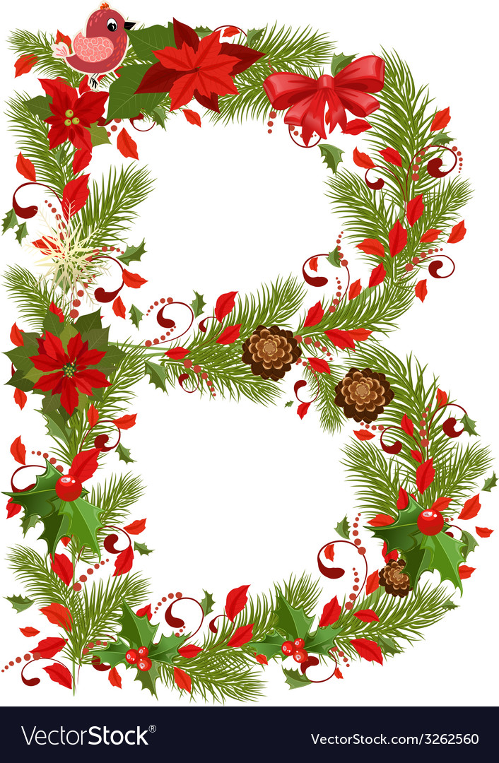 Christmas floral tree letter b vector | Price: 1 Credit (USD $1)