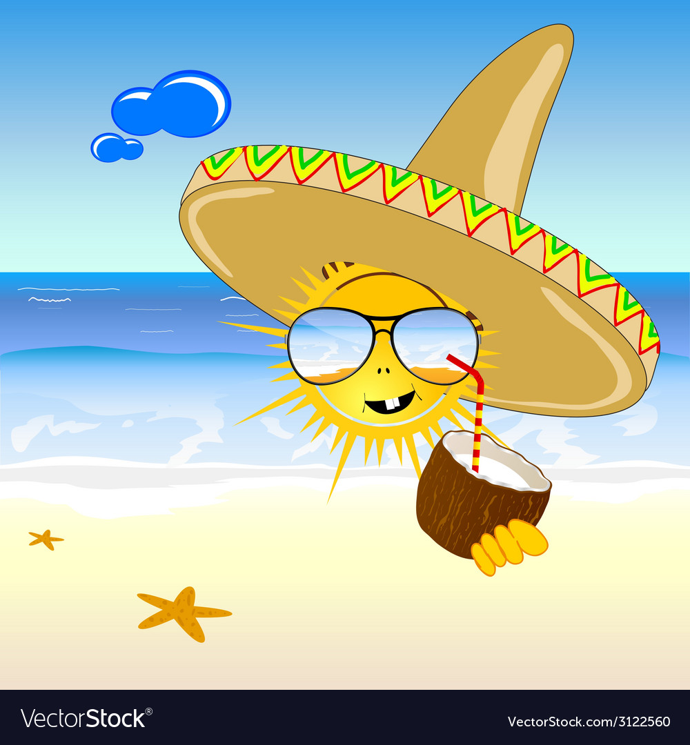 Coconut and sun on the beach vector | Price: 1 Credit (USD $1)