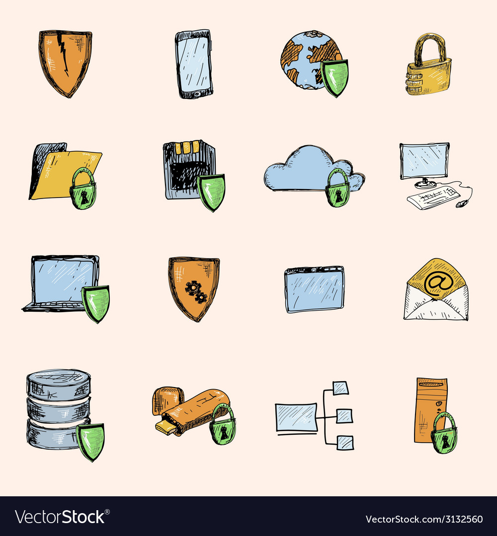 Data protection sketch icons colored vector | Price: 1 Credit (USD $1)