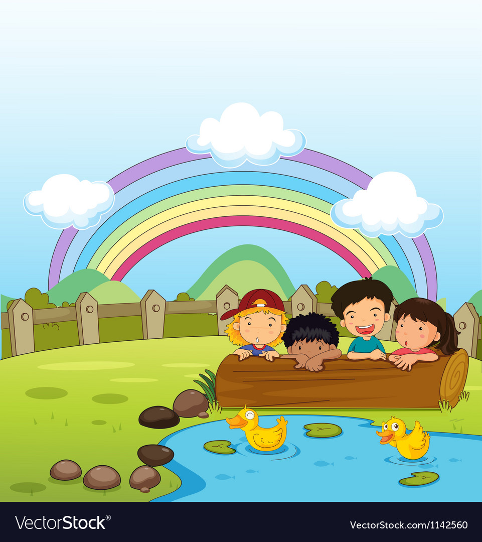 Kids watching the ducklings vector   Price: 1 Credit (USD $1)