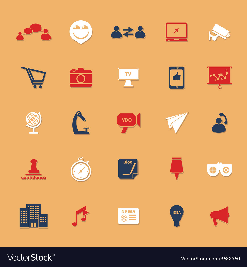Media marketing classic color icons with shadow vector | Price: 1 Credit (USD $1)