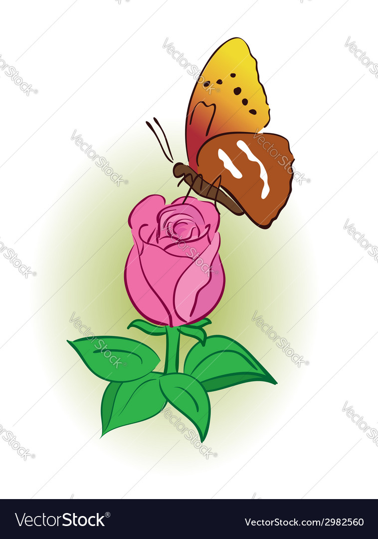 Rose with bright butterfly vector | Price: 1 Credit (USD $1)