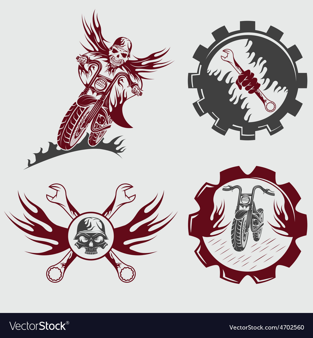 Set of bikers theme emblems with skullflames and vector   Price: 1 Credit (USD $1)