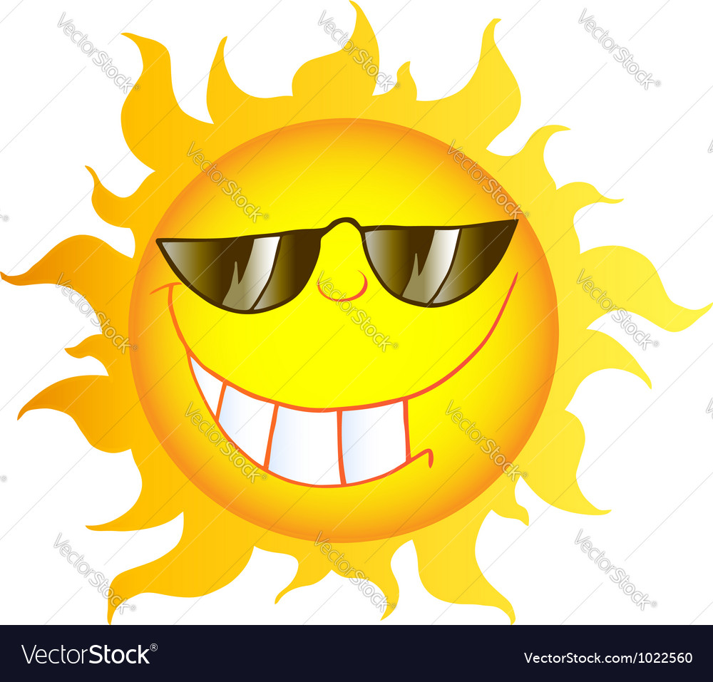 Smiling sun cartoon character with sunglasses vector | Price: 1 Credit (USD $1)