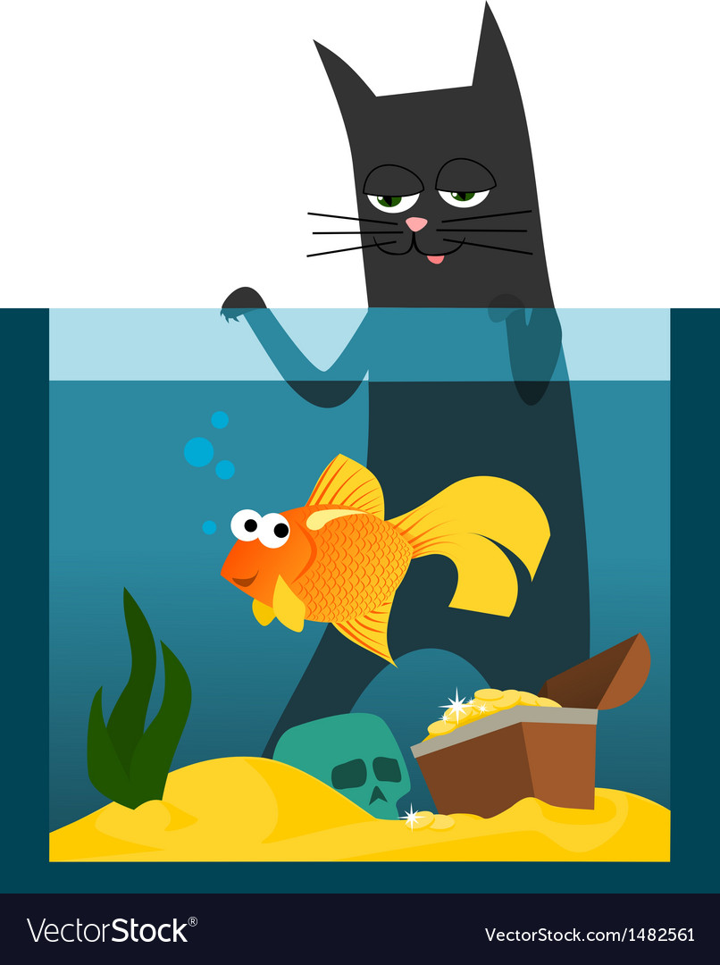 Black cat and goldfish vector | Price: 1 Credit (USD $1)