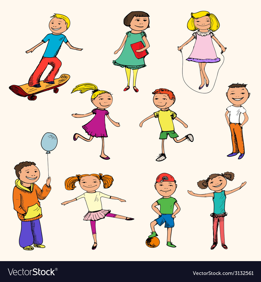 Children characters sketch colored vector | Price: 1 Credit (USD $1)