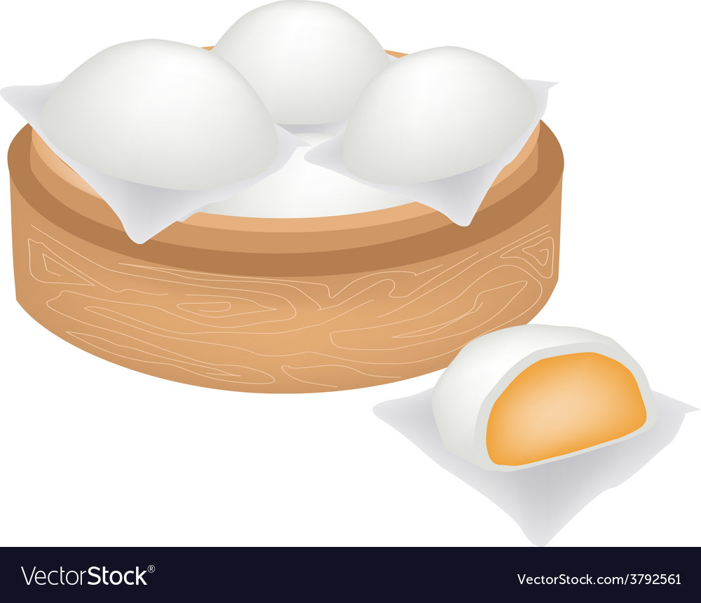 Chinese steamed bun and creamy stuff vector | Price: 1 Credit (USD $1)
