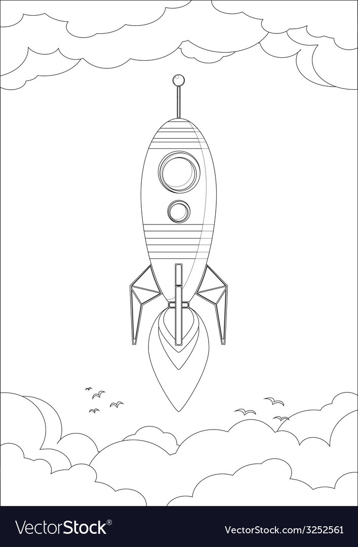 Cosmo rocket in the sky with clouds and birds vector | Price: 1 Credit (USD $1)