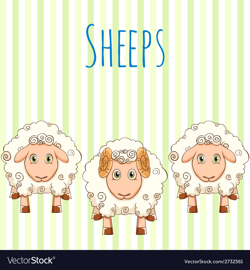 Cute cartoon sheep vector | Price: 1 Credit (USD $1)