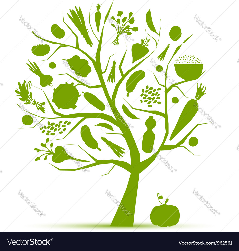 Healthy life - green tree with vegetables vector | Price: 1 Credit (USD $1)